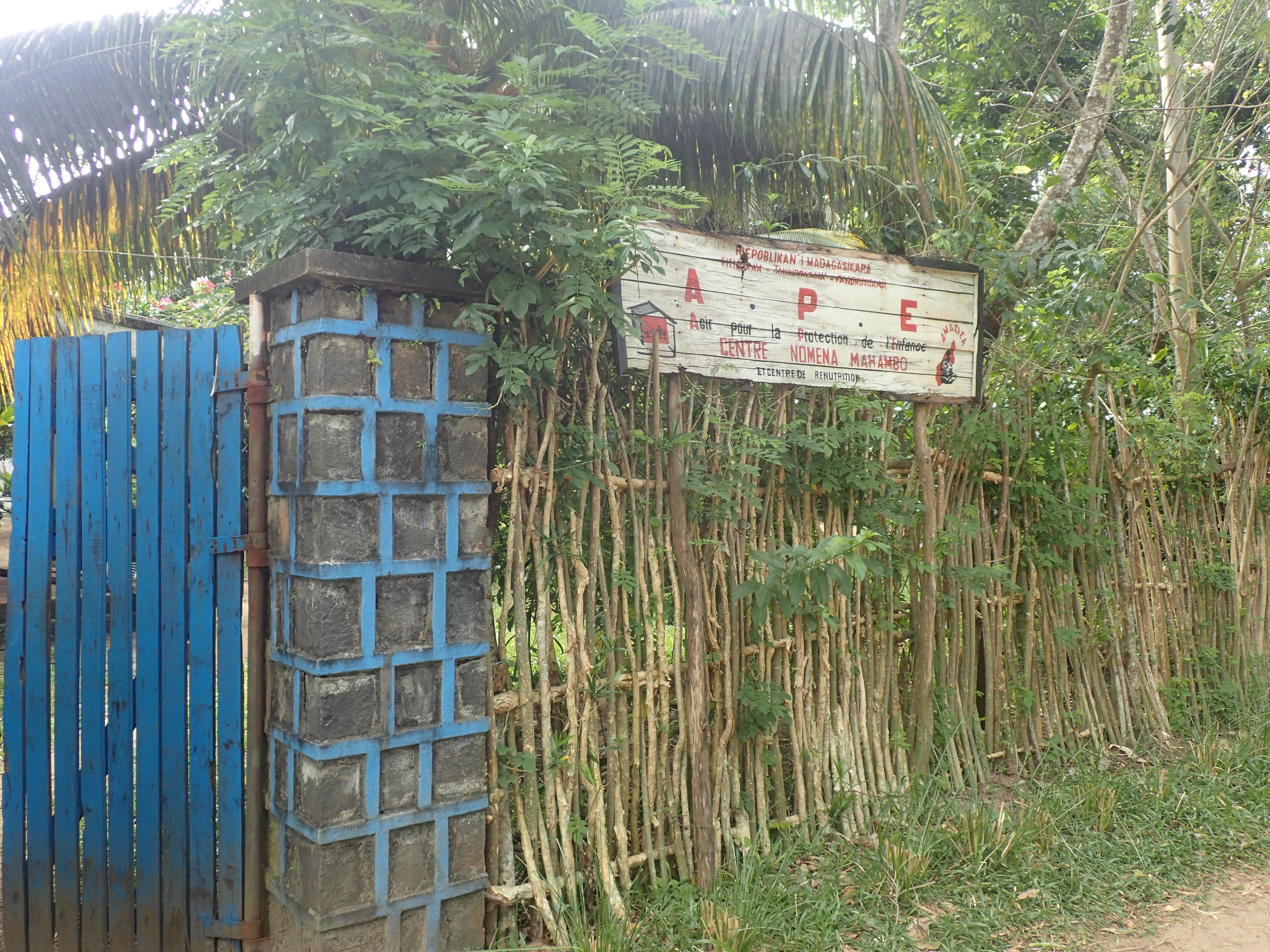 Entrée du centre Nomema - APE Agir pour l'enfance) à Mahambo